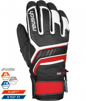 Перчатки горнолыжные REUSCH Thunder R-TEX XT (17/18) Black/White/Red